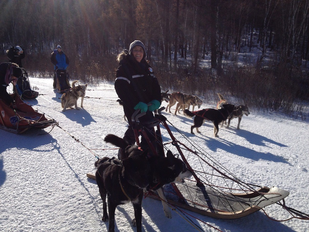 Michelle dogsledding in Mongolia