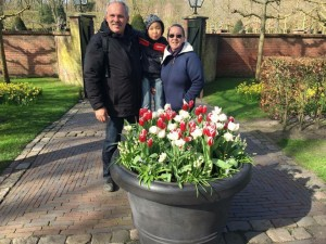 the 3 of us in The Netherlands at the Keukenhof (Flower Show)